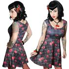 Women's Cherry Skull Flare Dress Kreepsville Gothic Horror Fashion