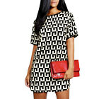 Women Pullover Short Sleeve Round Neck Geometric Print Unlined Casual Dress