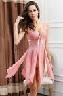 Embroidered Sexy Lingerie Gown High Slit Gown Babydoll Sleepwear Chemise Dress