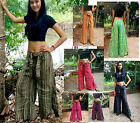 BAGGY PANTS TROUSERS- FLARED- HANDMADE - COTTON COCO BUCKLE STRIPE HIPPY