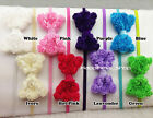 12X Infant baby girls Bowknot headbands lace bow photopraph prog hair accessory