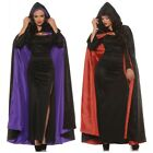 Black Hooded Cloak Adult Velvet Halloween Fancy Dress