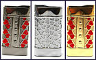 1 x Slim Red Heart Gold Chrome Metal Windpfoof Lighter Jet Flame New 3 Designs