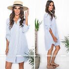 Women Button Up Long Sleeve Striped Loose Long Tops Blouse T Shirt Mini Dress