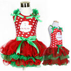 Xmas Red Santa Lace Tutu Dress Cute Baby Kid Girls Christmas Party Skirt Cute UK