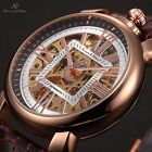 KS 4 Colours Mechanical Automatic Skeleton Square Leather Mens Wrist Watch Gift