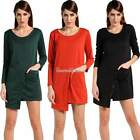 Fashion Women Korean Style Casual Loose Asymmetrical Hem Long Sleeve Dress SH