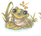 Ceramic Decals Cute Frog on Lily Pad Dragonfly Scene