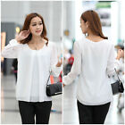 UK Womens Korean Fashion Loose Chiffon Tops Long Sleeve Shirt Casual Blouse Top