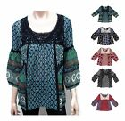 Bila Womens Floral Peasant Top Boho Shirt with Crochet Lace Trim and 3/4 Sleeves