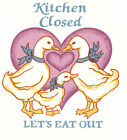 Ceramic Decals KITCHEN CLOSED Country Geese Heart Graphic