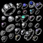 Hot Black Gold Rings Stainless Steel Zircon Rings For Friend / Lover US1