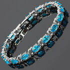 Wedding Party Jewelry Blue Topaz White Gold Gp Fashion Bracelet