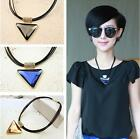 Women Girls Fashion New Geometry Triangle Crystal Statement Pendant Necklace