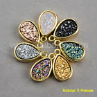 Wholesale 5Pcs 12x8mm Drop Titanium Natural Agate Druzy Charm Gold Plated Bezel