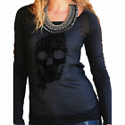Cruel CTK9770001 Women's Western Skull Long Sleeve Sheer Shirt Black