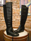 Vince Camuto Alexila Black Leather OTK Over the Knee Wedge Boots NEW