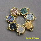Wholesale 5Pcs 9mm Titanium Natural Agate Druzy Connector Gold Plated Bezel Z022