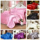 Luxury Soft Silk Feel Satin Queen/King/DB/Single Bed Quilt/Doona Cover Set Solid