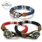 MENDINO Men's Women's Leather Bracelet Braided Cord Rope Cuff Bangle Wristband