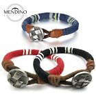 MENDINO Men's Alloy Leather Bracelet Braided Cord Rope Cuff Bangle Wristband