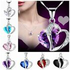 Women Charming Silver Chain Crystal Rhinestone Heart Pendant Necklace Jewelry EE