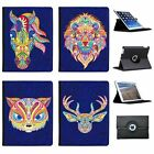 Traditional Indian Mehndi Swirl Animals Folio Cover Leather Case For Apple iPad