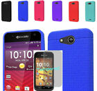Tempered Glass+Rugged Silicone Slim Case Cover For AT&T Kyocera Hydro Air C6745
