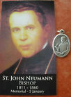 Separated St. John Neuman Medal and Diary Prayers Card + First American Saint