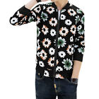 Men Stand Collar Long Sleeves Printed Zip Up Front Slim Fit Casual Jacket