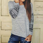 2016 New Womens Long Sleeve Casual Loose Round Neck Blouse T Shirt Tops Shirt EC