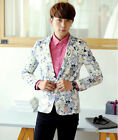 New Men's Fashion Floral Print Slim Fit Vacation Casual Blazer Jacket Coat White