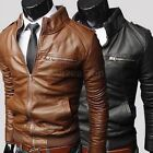 Men's fashion jackets collar Slim motorcycle leather jacket coat outwear Hot