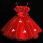 Reds Christening Wedding Party Outfit Flower Girls Dresses SIZE 2,3,4,5,6,7,8T