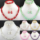 7 Kind Color Manmade Glass Pearl Round Beads Necklace & Bracele & Earring 1 SET