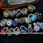 Womens Girl Flower Faceted Crystal Glass Bead Knitted Cocktail Finger Ring US 7