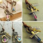 Hourglass Lovers Necklace Vintage Lamp Love Cross Pendant Blue Pink Leather L5YG
