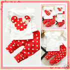 Toddler Reds Minnie Mouse Christmas Party Outfit Set Girls Dresses SIZE 1-2-3-4Y
