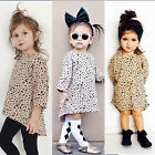 Cute Baby Kids Girls Clothing Casual Party Seven Sleeves Leopard Cotton Dress