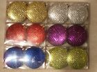 12 Glitter Disc Christmas Tree Decorations baubles Silver Gold Red Green Blue Pu