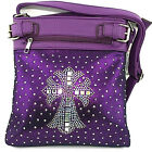 Bright Rhinestone Studded Crystal Squares Cross Messenger Bag Cross Body Purse