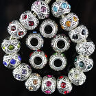 Top Crystal Alloy Findings European Big Hole Charm Beads Fit Bracelets DIY 11mm