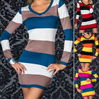 Fashion Ladies Women Sexy Bodycon Stripe Mini Dress Multi Color Stripes Slim YG