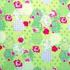 GREEN - PETIT PATCHWORK -100% COTTON FABRIC 160cm OEKO-TEX floral roses