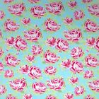 GIVERNEY BLUE ROSE - COTTON FABRIC 160cm OEKO-TEX floral roses pink