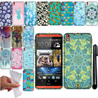 For HTC Desire 816 TPU PATTERN SILICONE Rubber GEL Soft Case Phone Cover + Pen