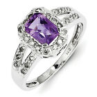 New .925  Sterling Silver Diamond And Emerald Shaped Amethyst Ring - Choose Size
