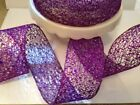 GLITZY PURPLE Glittery Mesh Web Net Christmas - Luxury Wire Edged Ribbon LOW!!