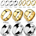 MENDINO Men's Women's Stainless Steel Ring Polished Band Silver Gold 3mm 6mm 8mm