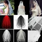 3 Tier Wedding Bridal Elbow Short Length Satin Edge Veil With Comb 4 Color New